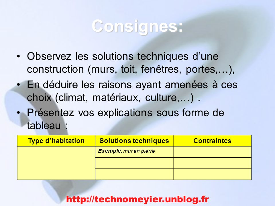 Consignes: Observez les solutions techniques d'une construction (murs, toit, fenêtres, portes,…),