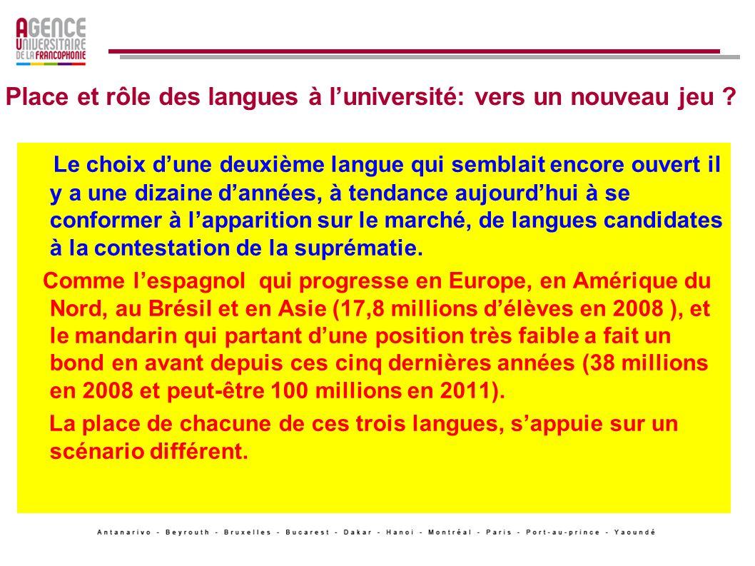Place et rôle des langues à l'université: vers un nouveau jeu