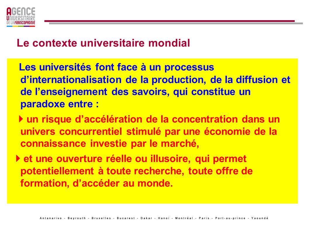 Le contexte universitaire mondial