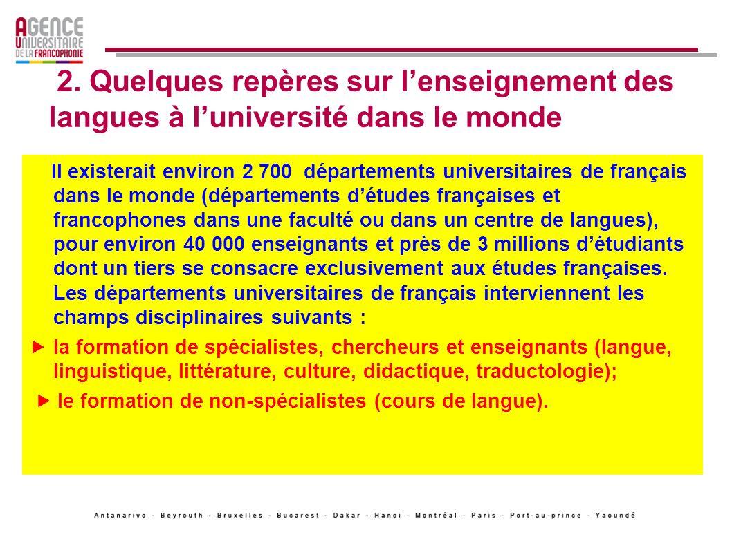 2. Quelques repères sur l'enseignement des langues à l'université dans le monde