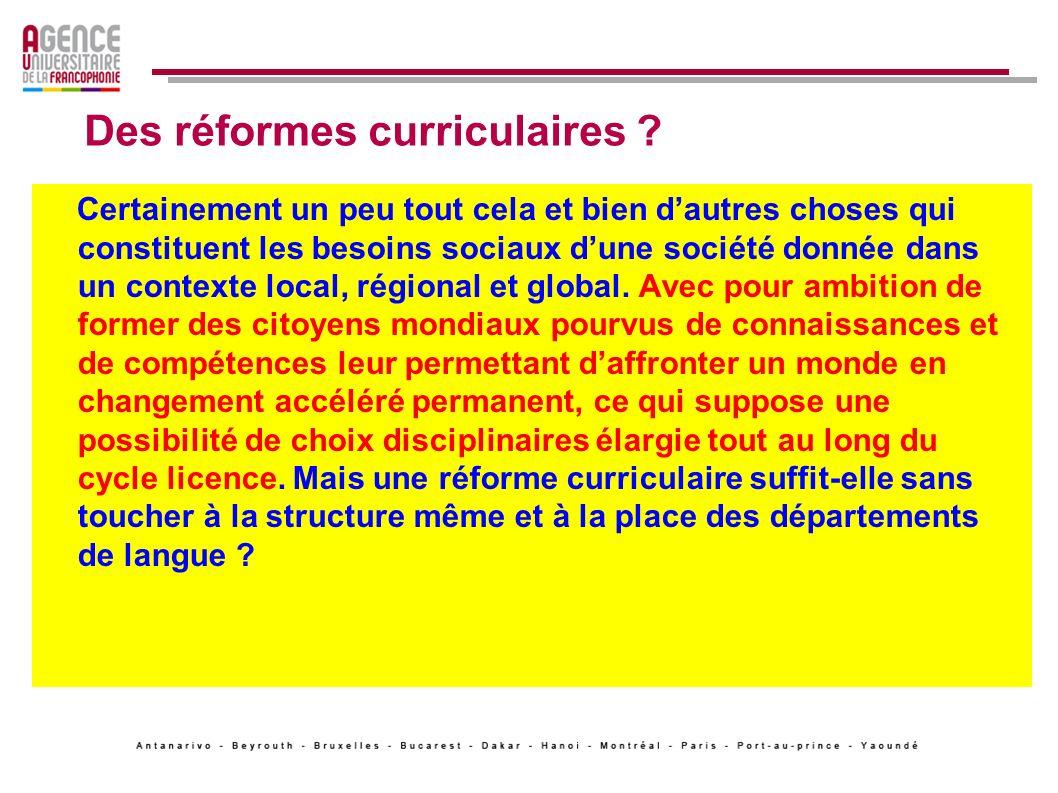 Des réformes curriculaires
