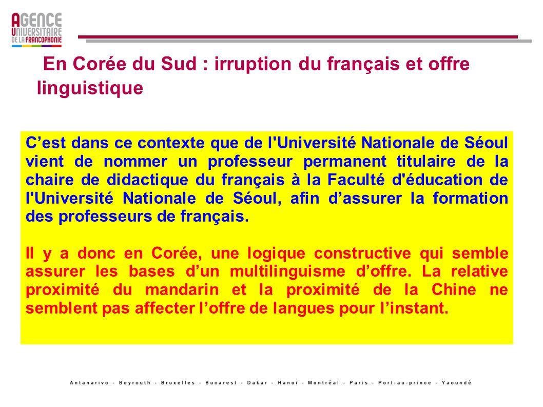 En Corée du Sud : irruption du français et offre linguistique