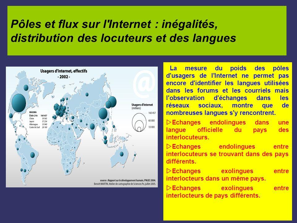 Pôles et flux sur l Internet : inégalités, distribution des locuteurs et des langues