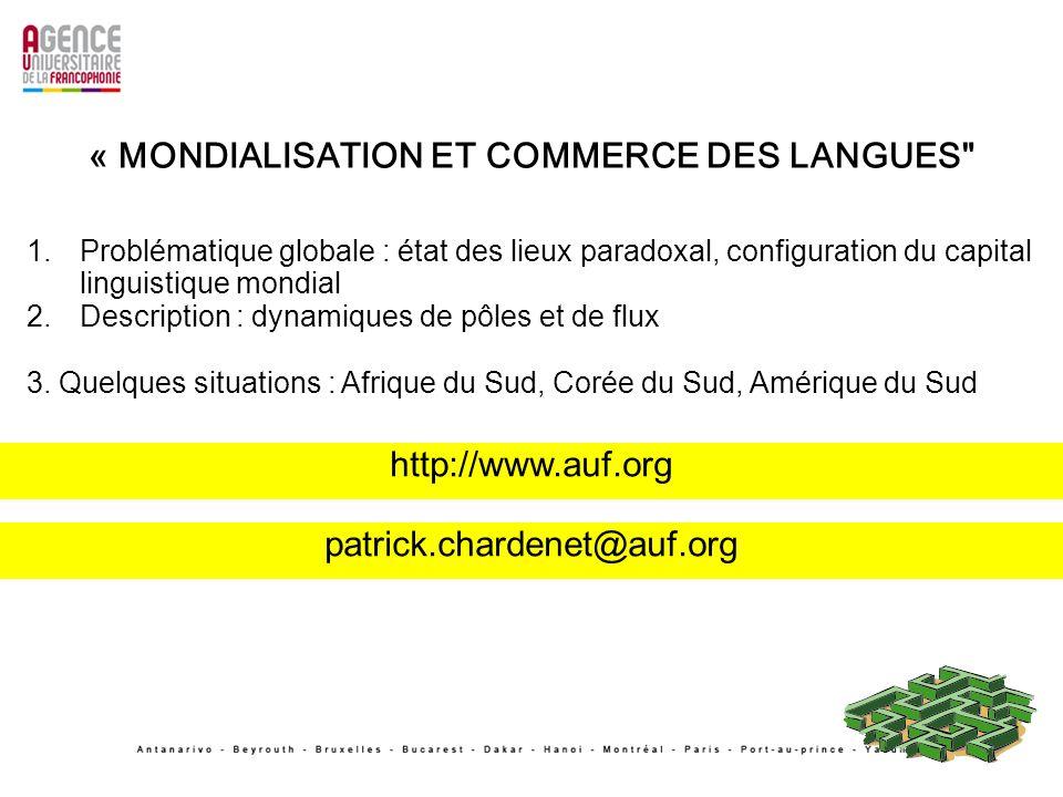 « MONDIALISATION ET COMMERCE DES LANGUES