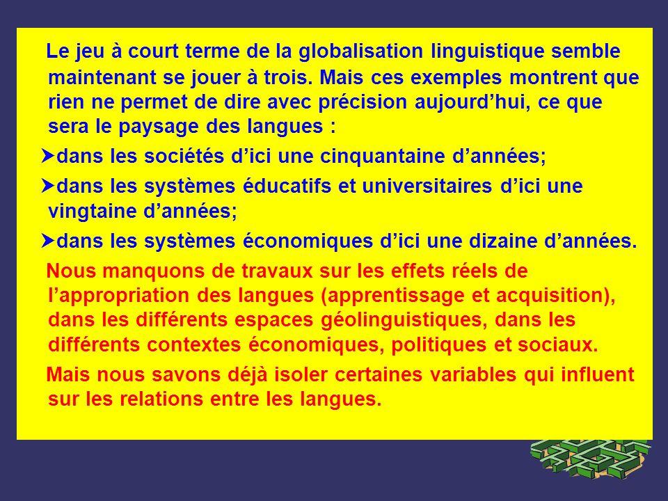 Le jeu à court terme de la globalisation linguistique semble maintenant se jouer à trois. Mais ces exemples montrent que rien ne permet de dire avec précision aujourd'hui, ce que sera le paysage des langues :
