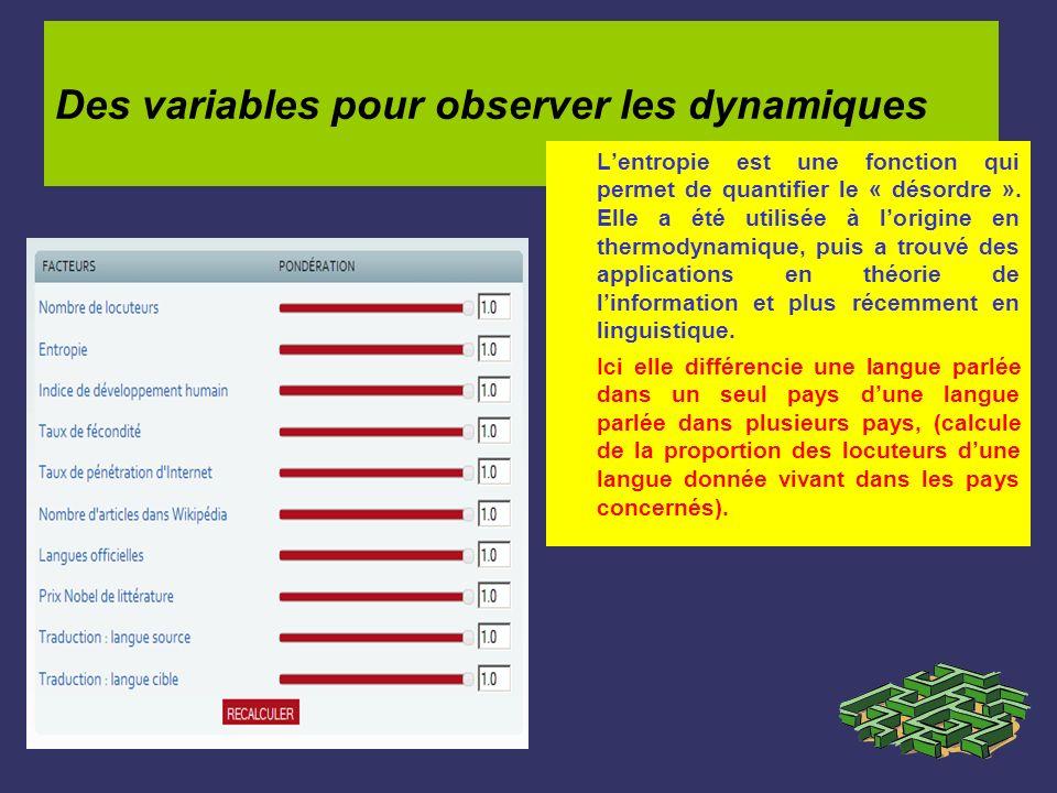 Des variables pour observer les dynamiques