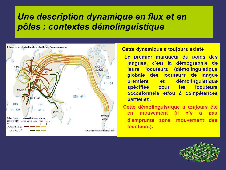 Une description dynamique en flux et en pôles : contextes démolinguistique