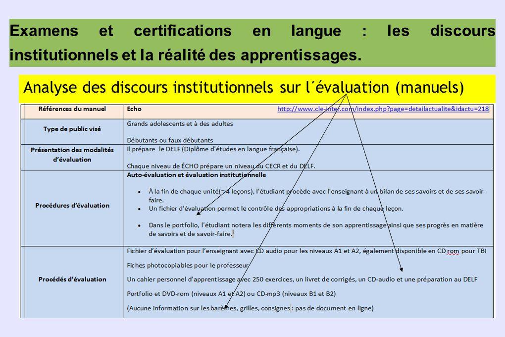Examens et certifications en langue : les discours institutionnels et la réalité des apprentissages.