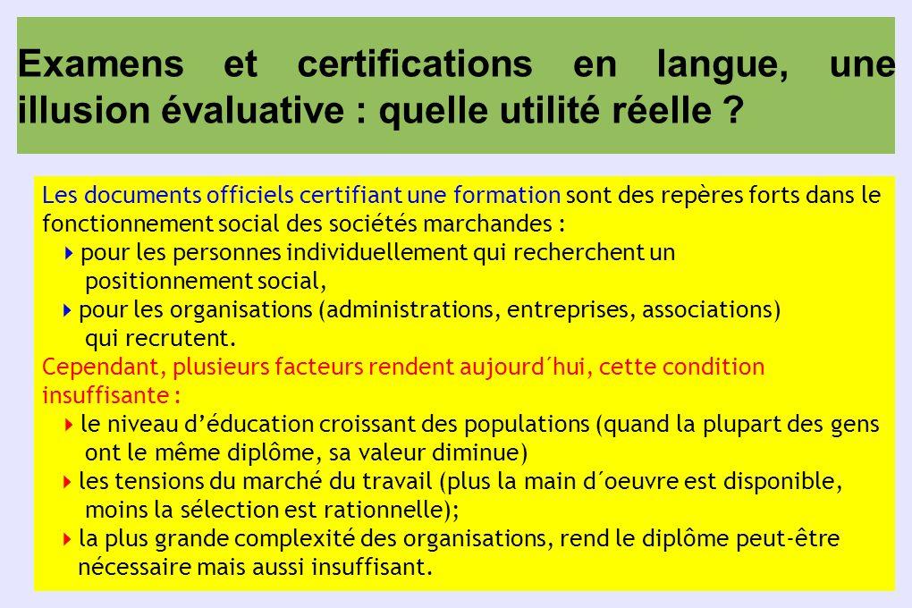 Examens et certifications en langue, une illusion évaluative : quelle utilité réelle