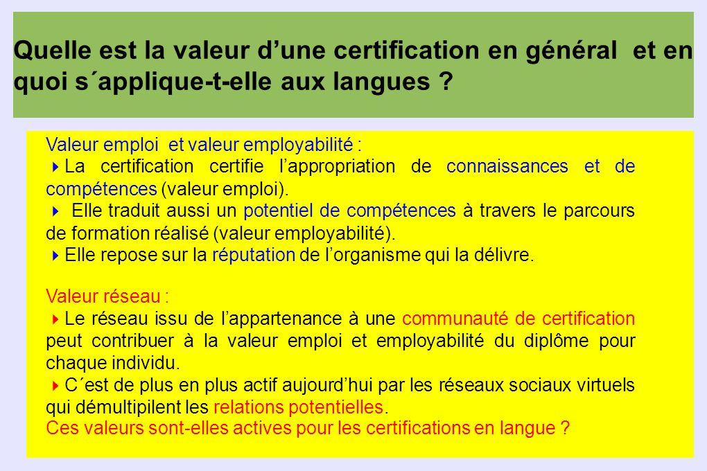 Quelle est la valeur d'une certification en général et en quoi s´applique-t-elle aux langues