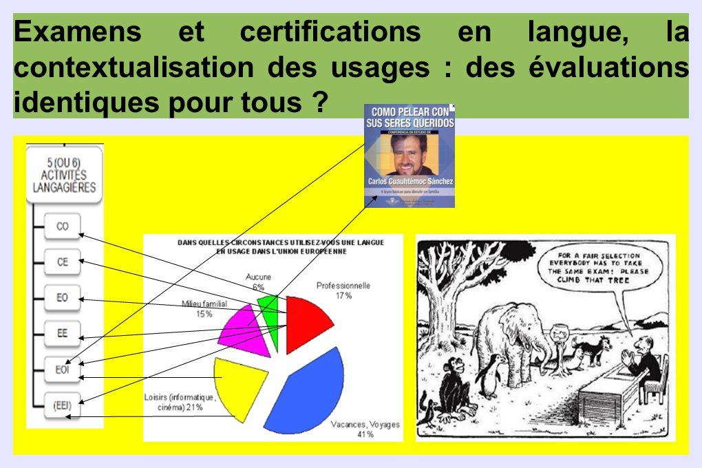 Examens et certifications en langue, la contextualisation des usages : des évaluations identiques pour tous