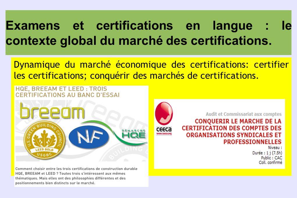 Examens et certifications en langue : le contexte global du marché des certifications.