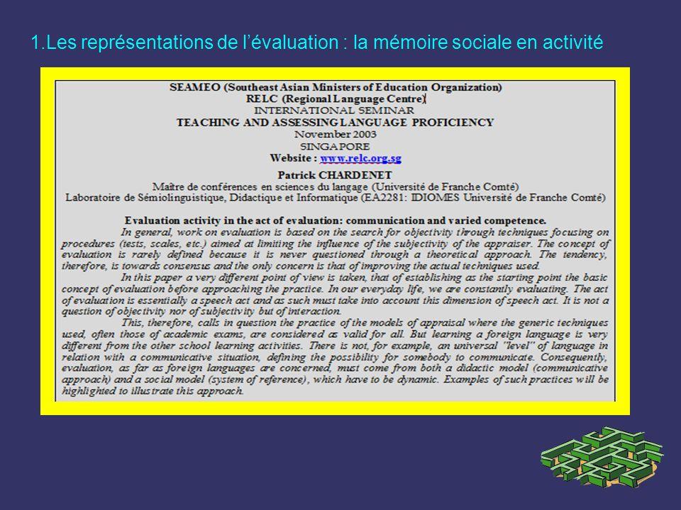 1.Les représentations de l'évaluation : la mémoire sociale en activité