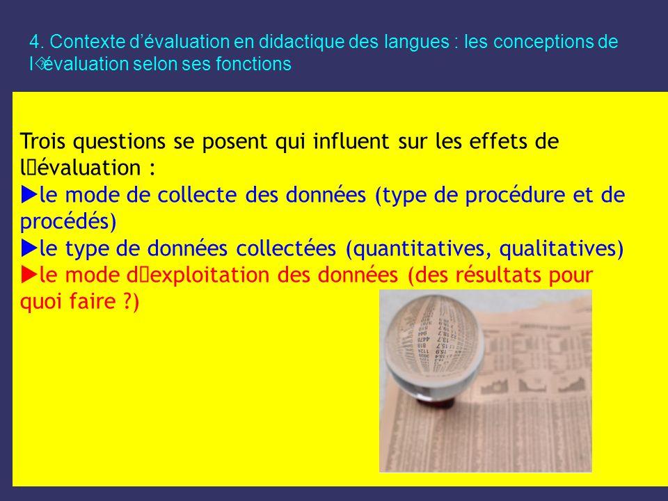 le mode de collecte des données (type de procédure et de procédés)