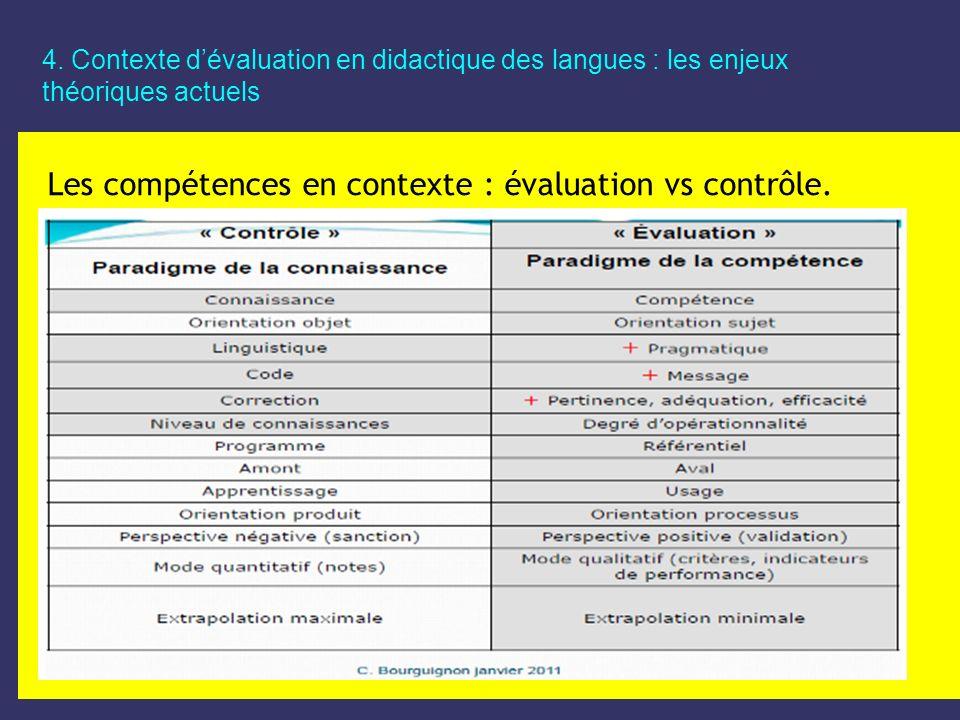 Les compétences en contexte : évaluation vs contrôle.