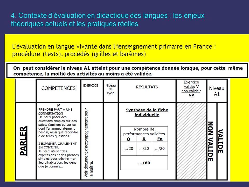 4. Contexte d'évaluation en didactique des langues : les enjeux théoriques actuels et les pratiques réelles