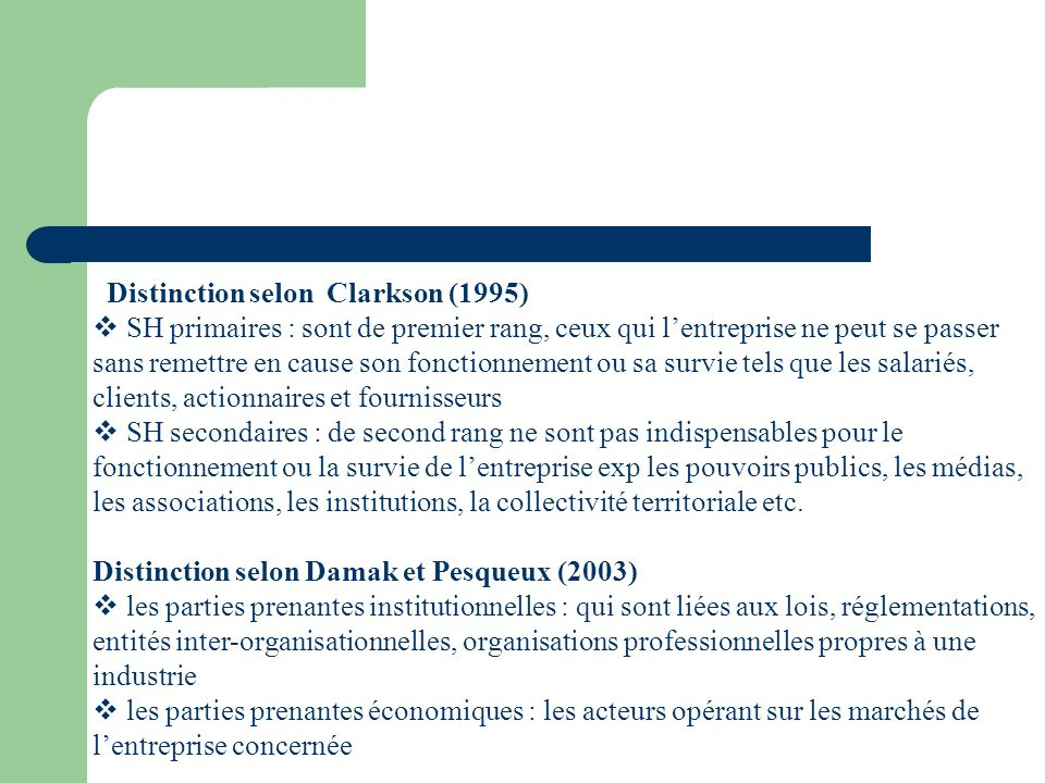 Distinction selon Clarkson (1995)