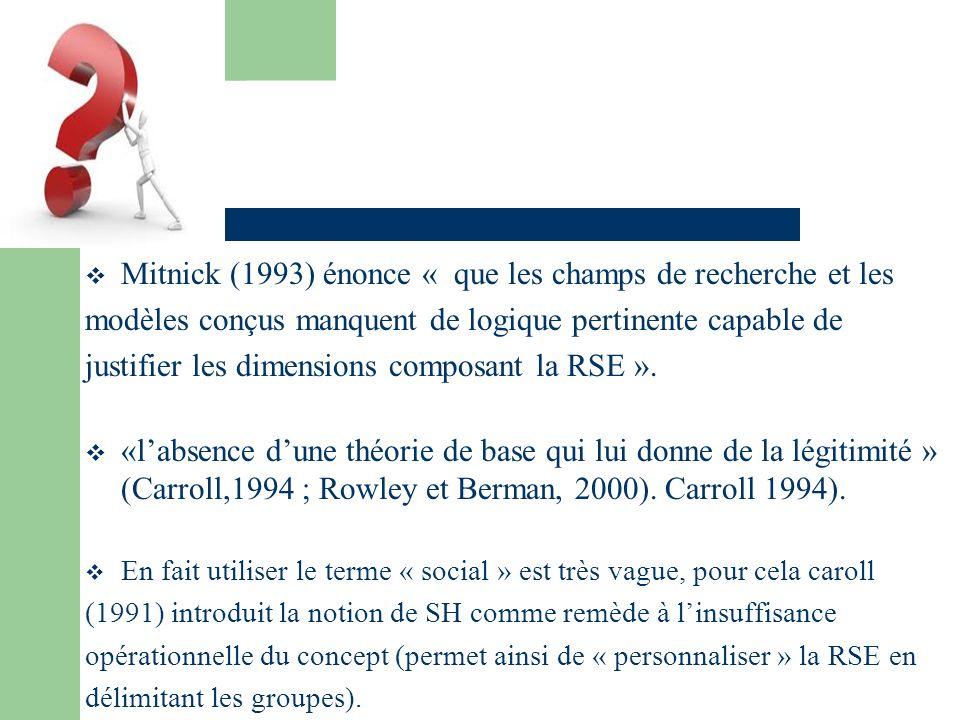 Mitnick (1993) énonce « que les champs de recherche et les