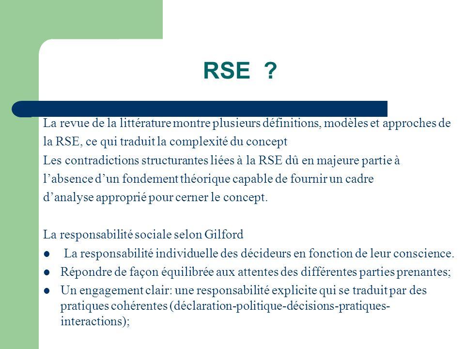 RSE La revue de la littérature montre plusieurs définitions, modèles et approches de. la RSE, ce qui traduit la complexité du concept.