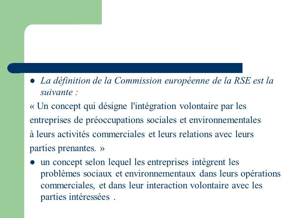 La définition de la Commission européenne de la RSE est la suivante :