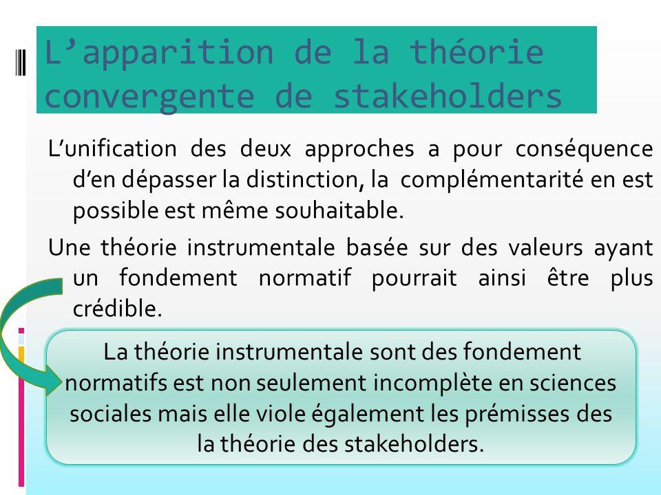 L'apparition de la théorie convergente de stakeholders