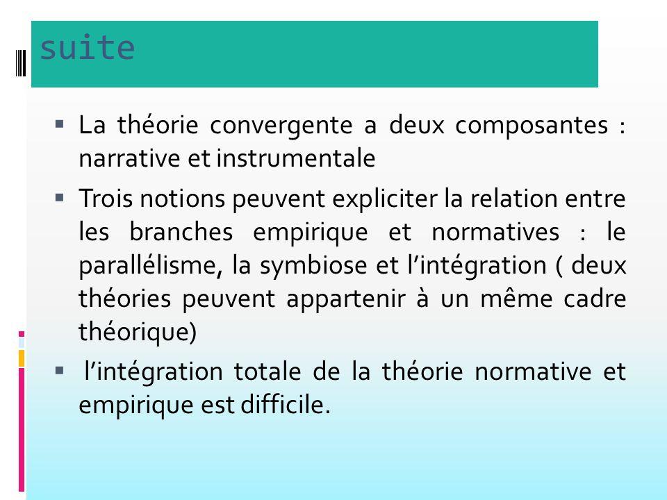 suite La théorie convergente a deux composantes : narrative et instrumentale.