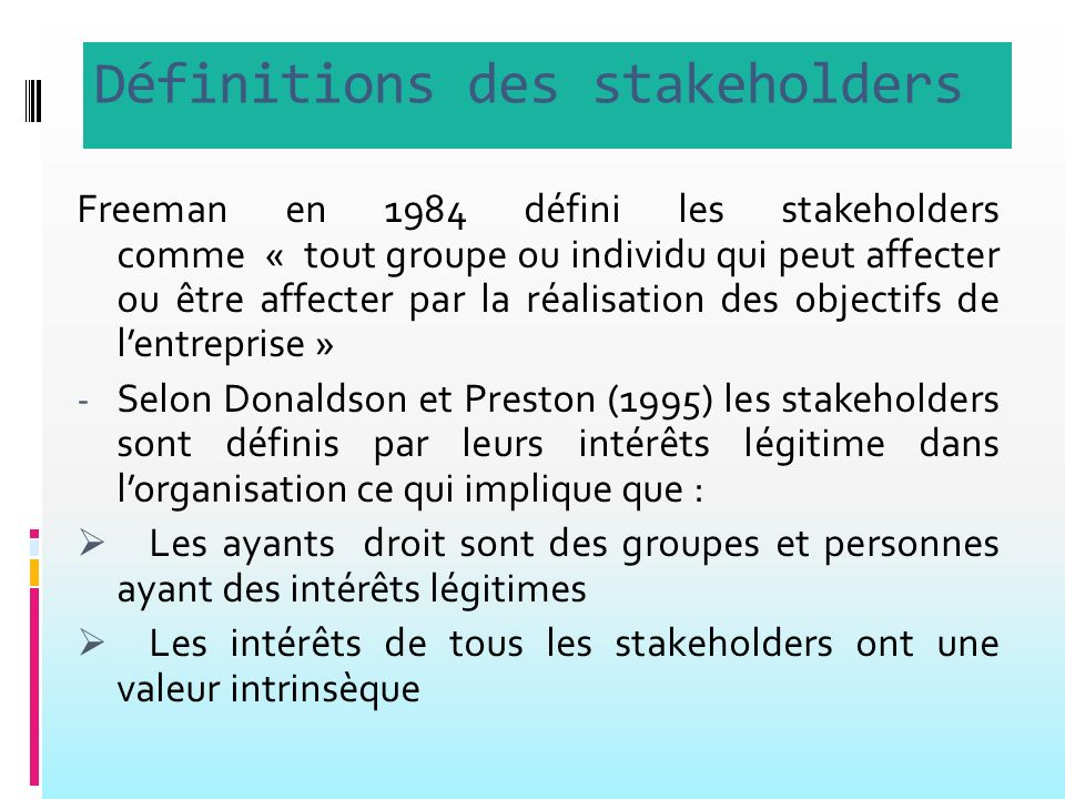 Définitions des stakeholders