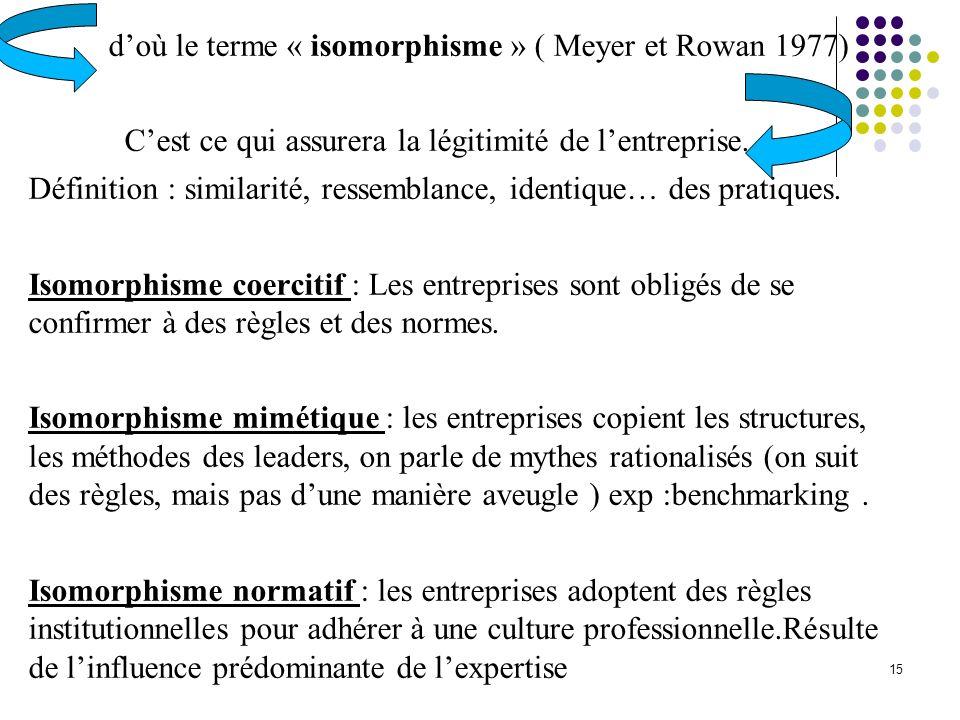 d'où le terme « isomorphisme » ( Meyer et Rowan 1977)