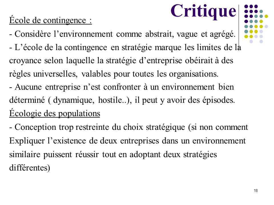 Critique École de contingence :