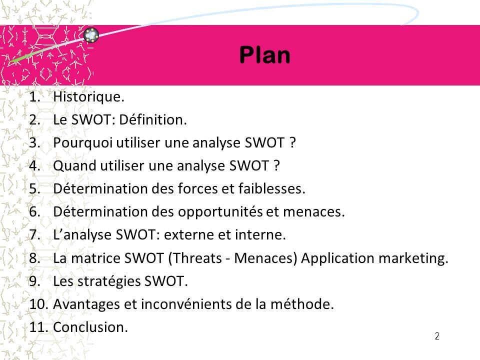 Plan Historique. Le SWOT: Définition.