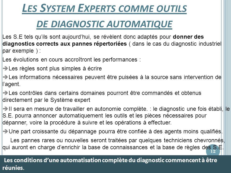 Les System Experts comme outils de diagnostic automatique