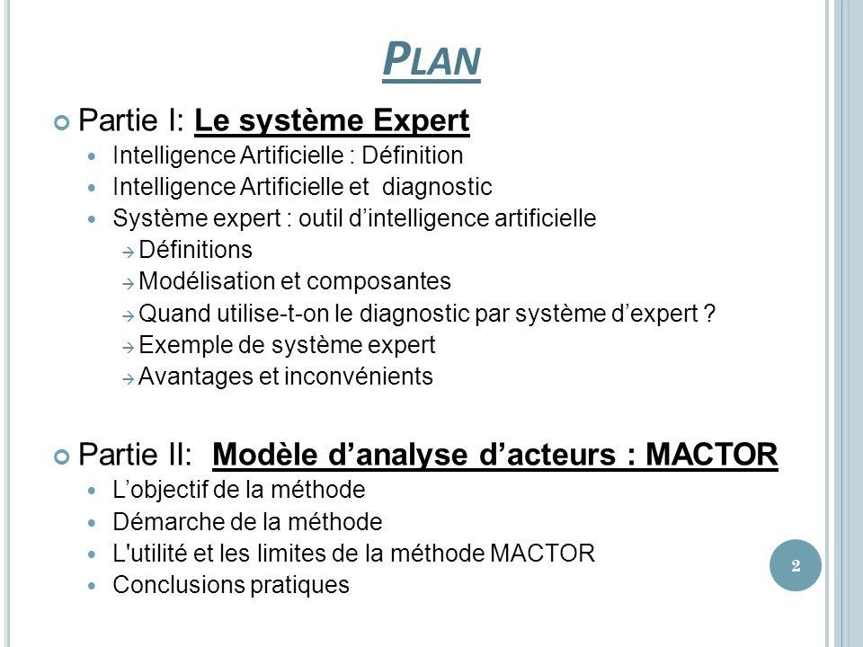 Plan Partie I: Le système Expert