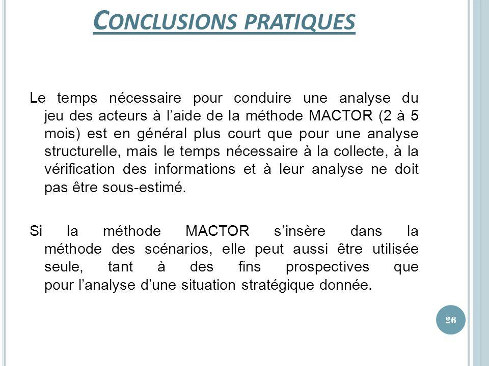 Conclusions pratiques