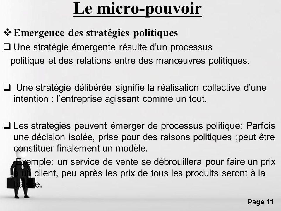 Le micro-pouvoir Emergence des stratégies politiques