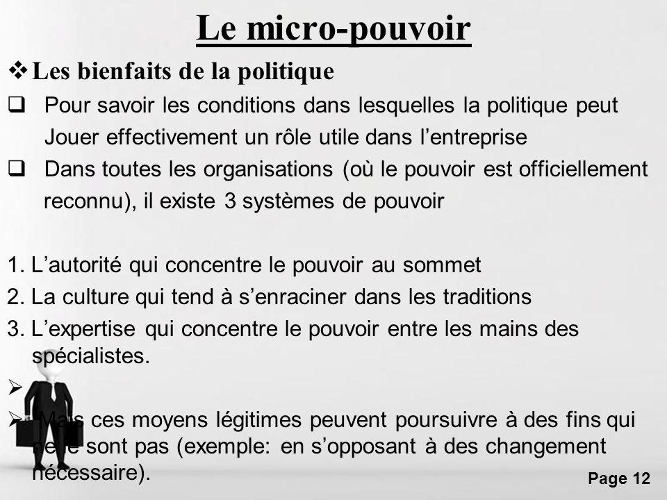 Le micro-pouvoir Les bienfaits de la politique