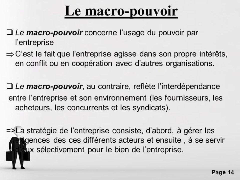 Le macro-pouvoir Le macro-pouvoir concerne l'usage du pouvoir par l'entreprise.