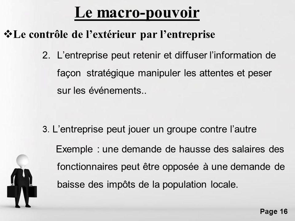 Le macro-pouvoir Le contrôle de l'extérieur par l'entreprise