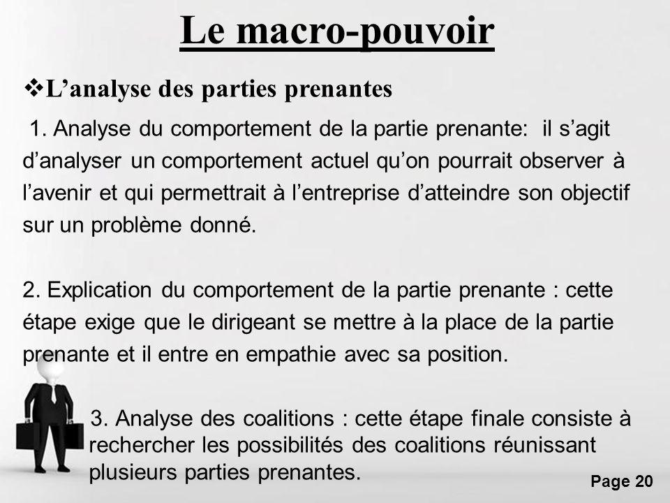 Le macro-pouvoir L'analyse des parties prenantes