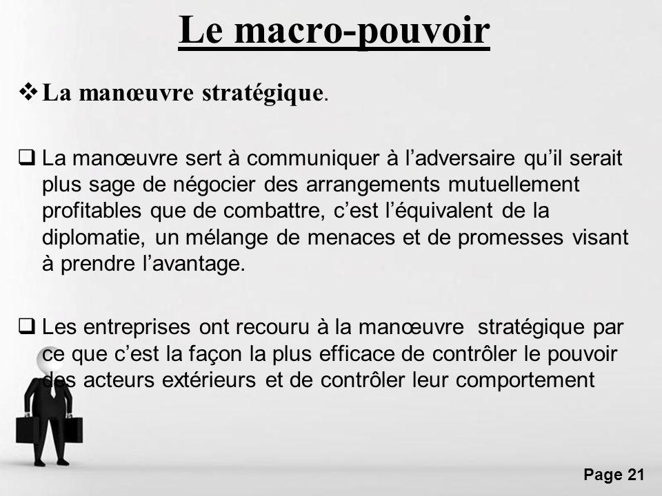 Le macro-pouvoir La manœuvre stratégique.