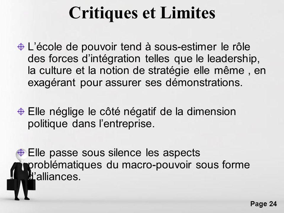 Critiques et Limites