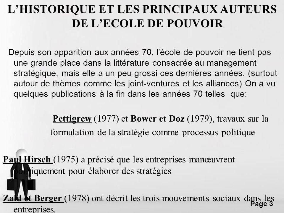 L'HISTORIQUE ET LES PRINCIPAUX AUTEURS DE L'ECOLE DE POUVOIR