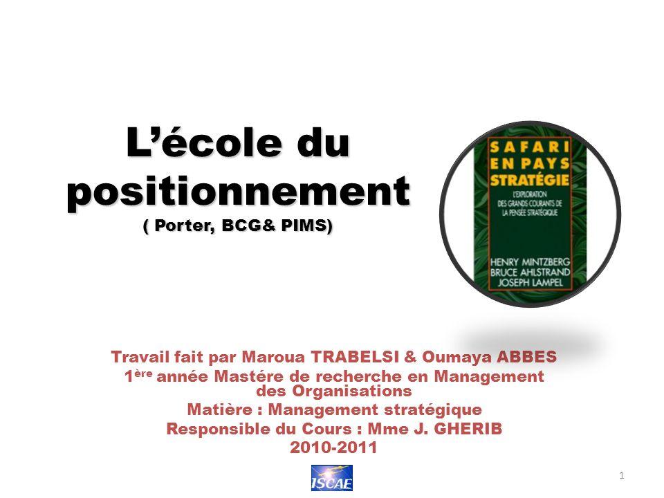 L'école du positionnement ( Porter, BCG& PIMS)