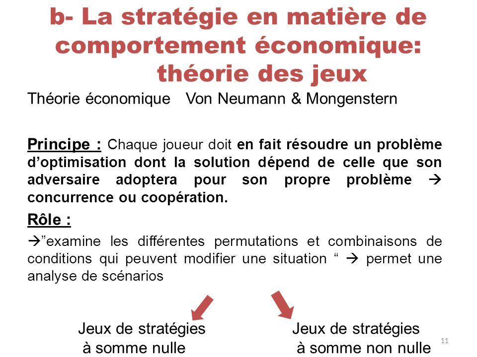 b- La stratégie en matière de comportement économique: