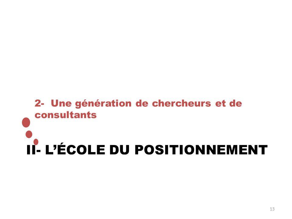 II- L'ÉCOLE DU POSITIONNEMENT