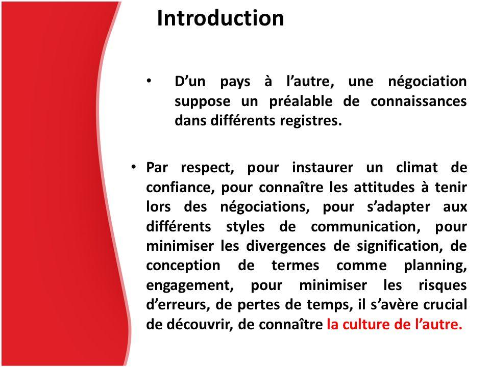 Introduction D'un pays à l'autre, une négociation suppose un préalable de connaissances dans différents registres.