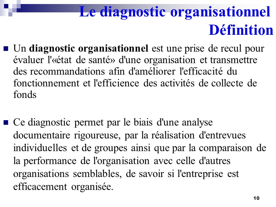 Le diagnostic organisationnel Définition