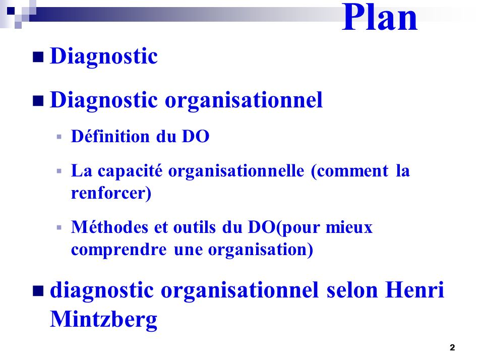 Plan Diagnostic Diagnostic organisationnel
