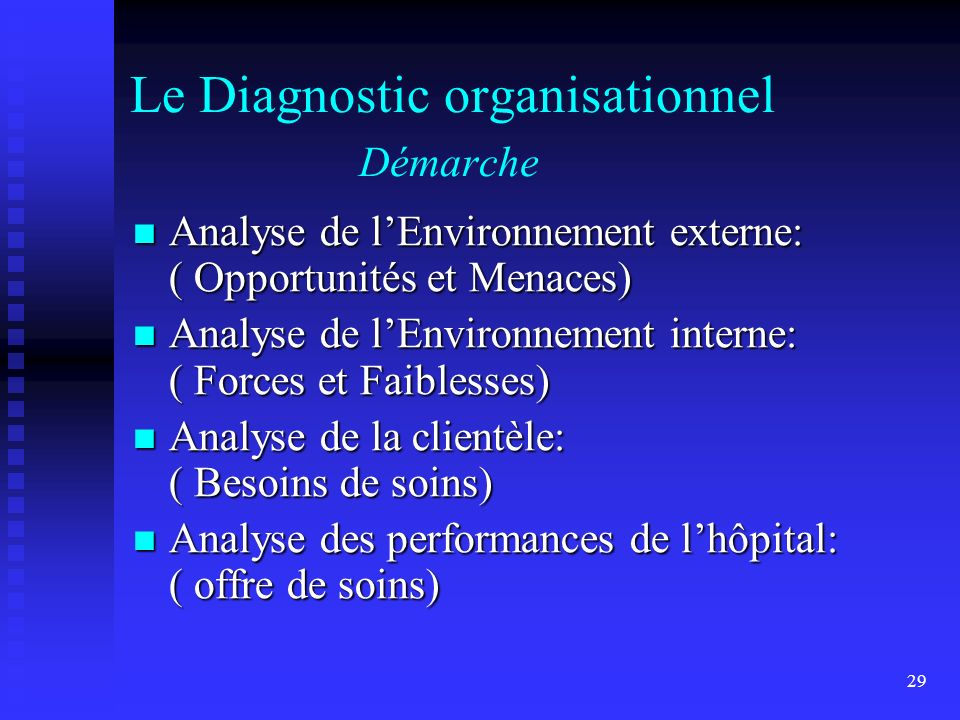 Le Diagnostic organisationnel Démarche