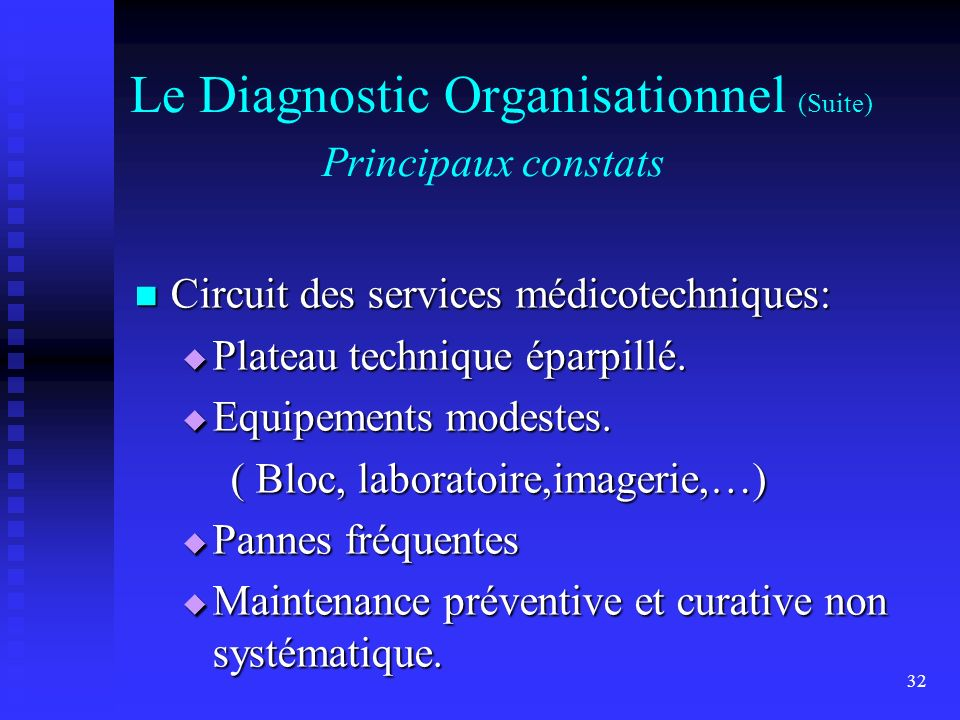 Le Diagnostic Organisationnel (Suite) Principaux constats