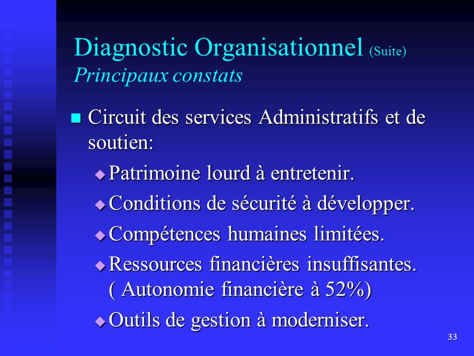 Diagnostic Organisationnel (Suite) Principaux constats